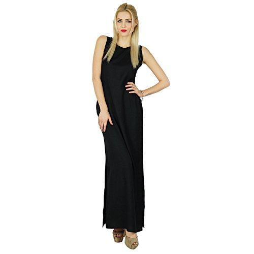 Bimba Frauen lang Maxi Schwarz ärmel Slit Kleid kommt mit aufgedrucktem Poncho Crop Top Schwarz