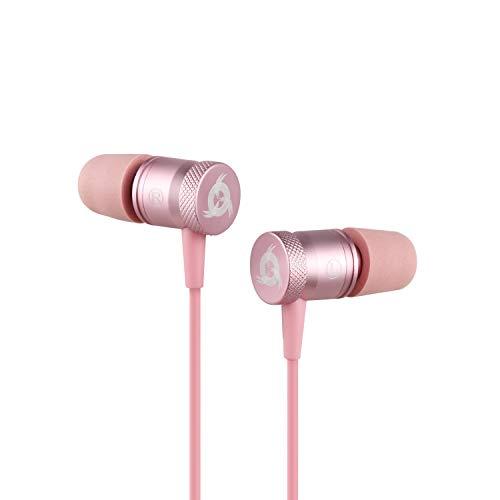 KLIM Fusion Audio Kopfhörer - Langlebig + 5 Jahre Garantie - Innovativ: In-Ear-Kopfhörer mit Memory Foam 2019 Version Rosa Gold