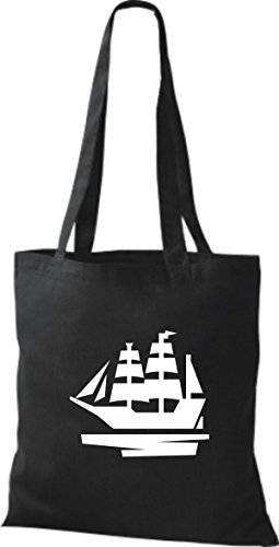 JUTA Borsa di stoffa barca a vela, Stivale, SKIPPER, CAPITANO Nero