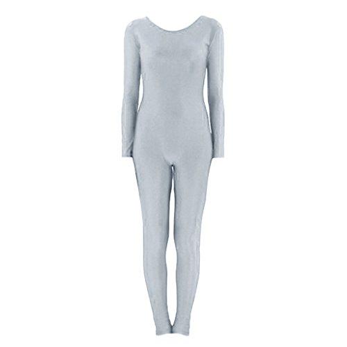 Prettyia Erwachsenen Damen Karneval Ganzkörperanzug Jumpsuit Spandex Body Catsuit Tanz Kostüm Stretch Anzug - Graue XL