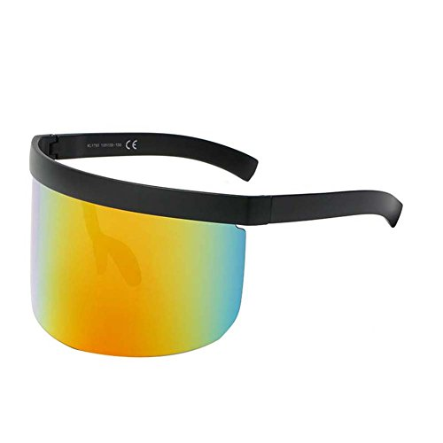 UGUAX Herren Frauen Funky Sonnenbrille Extra Oversize Visier Shield Maske Elegant verschnörkelte Gläser, Color-5