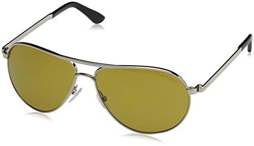 Tom Ford Damen FT0144 18N 58 Sonnenbrille, Grau (Rodio Lucido/Verde),
