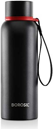 Borosil - Stainless Steel Hydra Trek - Vacuum Insulated Flask Water bottle, Black, 700ML