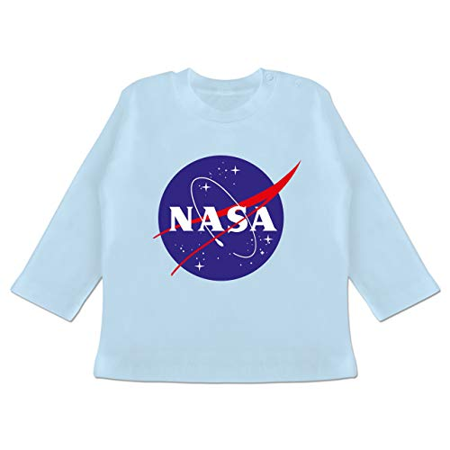 Up to Date Baby - NASA Meatball Logo - 3/6 Monate - Babyblau - BZ11 - Baby T-Shirt Langarm