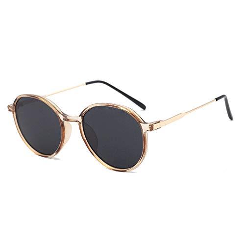 FURUDONGHAI Mehrfarbige Sonnenbrille mit großem Gestell Metall Circle Frame Drive-Brille UV400-Schutz Unisex Black Grey Lens besonders geeignet für sommerreisen oder Outdoor s (Farbe : Gold)