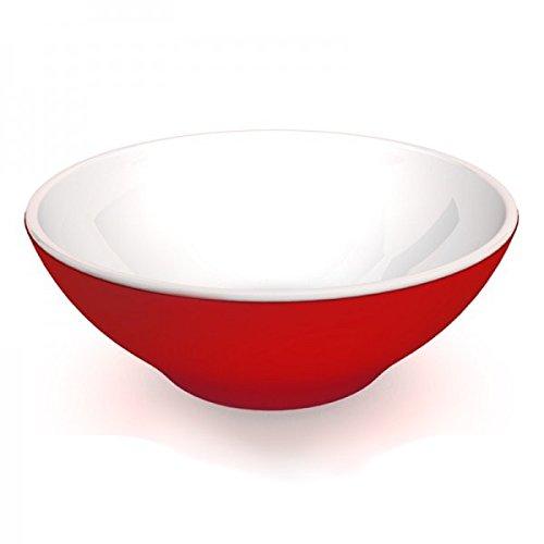 Ornamin Saladier 2700 ml Rouge/Blanc Mélamine (Modèle 154) / bol à salade, saladier plastique