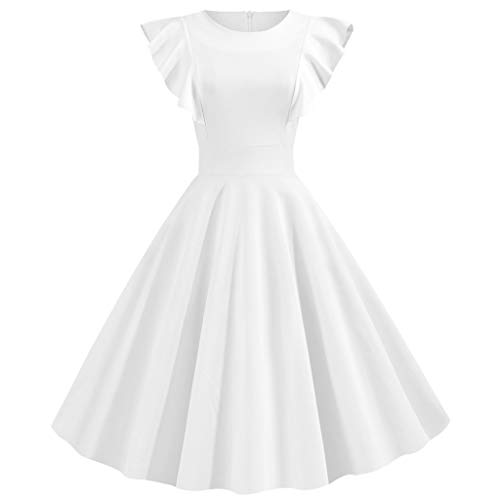 LILIHOT Sommer Frauen Fashion Solid Rüschen Ärmel Kleid Rundhals Reißverschluss Hepburn Party Kleid Vintage Retro Kleid Cocktail Party Rockabilly Abendkleider -