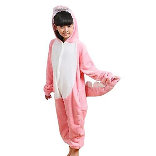 GWELL Kinder Kostüm Tier Kostüme Schlafanzug Mädchen Jungen Winter Nachtwäsche Tieroutfit Cosplay Jumpsuit rosa Dinosaurier Körpergröße 90-104cm (Rosa Dinosaurier Kostüm)