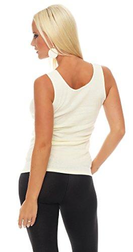 Hochwertiges Damen Träger-Top mit großer Spitze Nr. 416 (Oberteil / Unterhemd / Träger-Shirt) 100% Baumwolle ( Gelb / 52/54 ) - 3