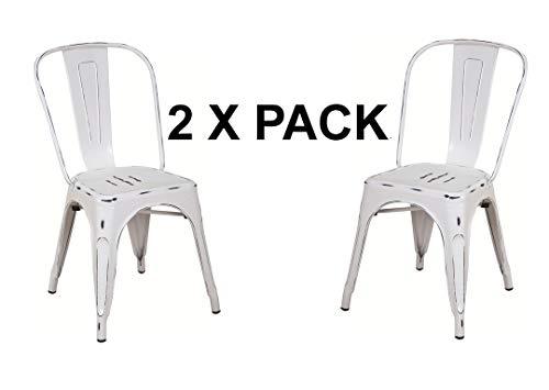 F&T Bistrostuhl Comfort Metall Schwarz Stuhl im Industry-Design Stapelbar VE 2 Stück weißer Jahrgang -