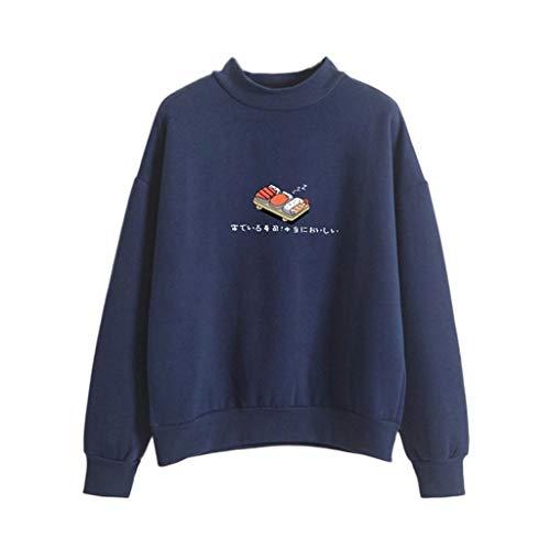 Damen Kapuzenpullover Lange Ärmel Hoodie Pullover Ronamick Frauen Mode Langarm lose Sushi gedruckten Sweatshirt Bluse Tops T-Shirt(M, Dark Blau) - Raglan Fleece Hoody
