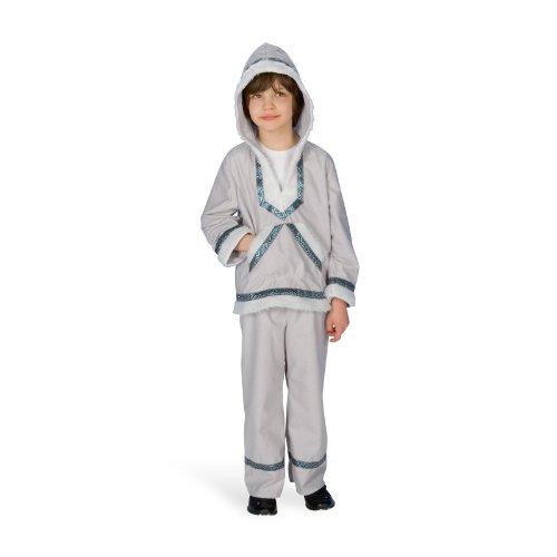 Eskimo Polar Jungen Kinder Kostüm Fasching Unisex Kunstfell Karneval Zweiteiler - 116