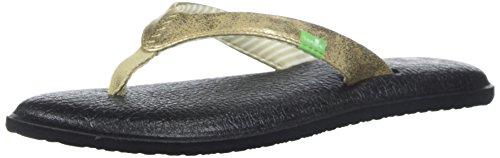 Sanuk Women's Yoga Chakra Metallic Flip-Flop, Champagne, 09 M US -