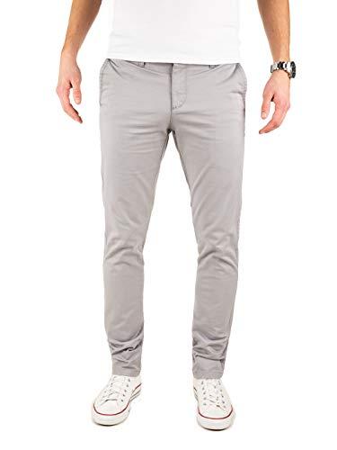 Yazubi Chino Hosen für Herren - Modell Dustin by Yzb Jeans Slim fit - Graue Chinohose Casual mit Stretch, Grau (Gull 4R173802), W33/L34 Slim Fit Denim-hose