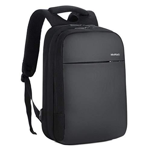 Slim College Rucksack Arbeitsrucksack Anti TheftTravel Business Rucksack 15,6 Zoll Laptop Schultasche mit USB-Ladeanschluss für Männer Frauen, Black Nylon Slim Rucksack