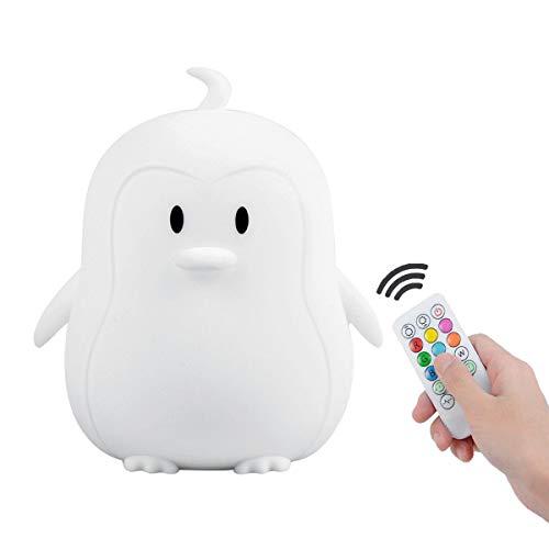 Nachttischlampe Kinderzimmer, Tianhaixing LED Nette Silikon Pinguin Kinder Nachtlicht, Nachttischlampe Touch Dimmbar - 9 Farben ändern/Fernbedienung/USB wiederaufladbar Nachtlicht Baby (BPA-frei)