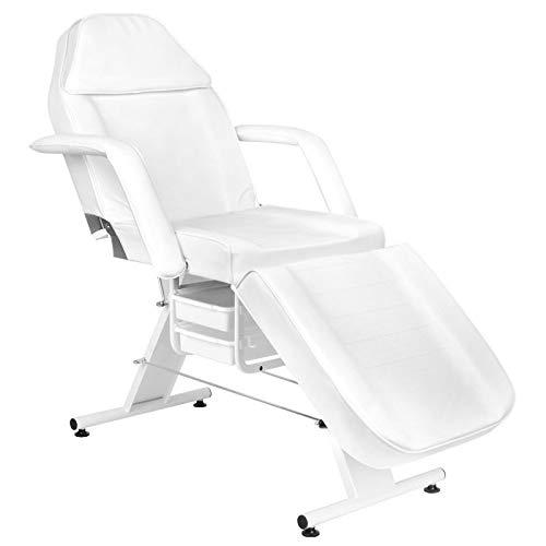 Activeshop Kosmetikliege Massageliege Massagetisch Massagestuhl Cosmetic Chair Basic 202 Weiss bis 150 kg belastbar Premium-PU-Leder mit Aufbewahrungsladen 180 x 60 x 75 cm (L x W x H)