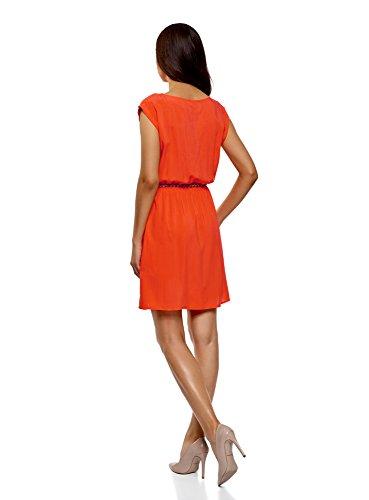 oodji Ultra Damen Viskose-Kleid mit Gürtel Rot (4501N)