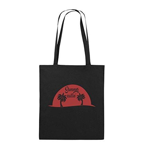 Comedy Bags - Summer callin - PALMEN - Jutebeutel - lange Henkel - 38x42cm - Farbe: Schwarz / Pink Schwarz / Rot
