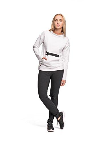 Makadamia - Sweat-shirt - Manches Longues - Femme Vert Kaki Blanc - Blanc