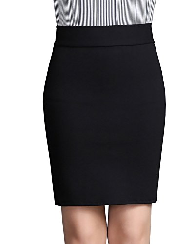 Damen Bleistift Rock Kurz Hohe Taille Stretch Business Rock für Bürodame Schwarz XL