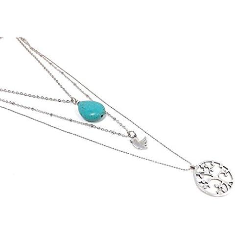 Tre strati Statement collana con ciondolo 3–in turchese e argento–Albero della vita in pietra uccello colomba cascata