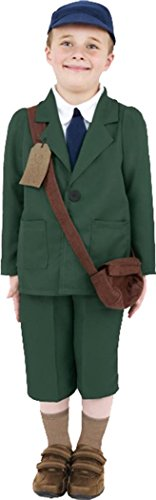 Boy Kostüm Evacuee Fancy Dress - Kinder Militär Fancy Dress World War II Evacuee Boy Kostüm grün mit Hat