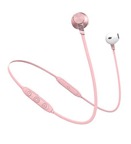 Langsdom L5 Auriculares Bluetooth IPX4 a Prueba de Sudor con micrófono Integrado estéreo inalámbrico Auriculares Deportivos para Dispositivos iOS y Android (Oro Rosa) Bluetooth L5Pro Rose Gold