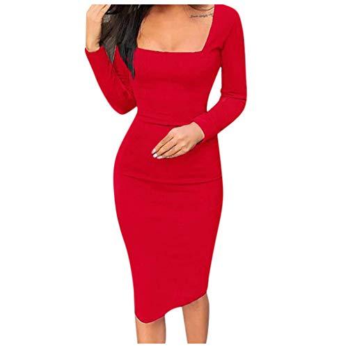 Mypace Elegant Sexy Bodycon Casual Herbst Dresses für Damen Slim Fit Square Neck Langarm Midi Kleid Party Schlanke Tasche Hüftrock -