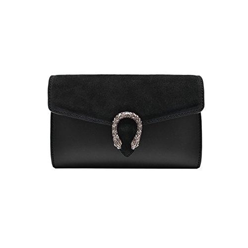 RONDA Umhängetasche Handtasche mit Kette und Schließen von Zubehör metallischen dunklem Nickel, Glatteleder und Wildleder, Hergestellt in Italien Kupplung schwarz
