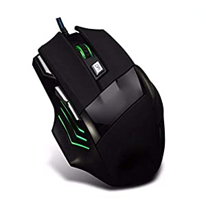 XiY Ergonomische Computerspiel RGB-Kabel Optical Notebook Mouse 5500 DPI Einstellbar LED 7-Tasten Version Und Die Version 6 Professionelle Gaming-Maus-Taste,Schwarz