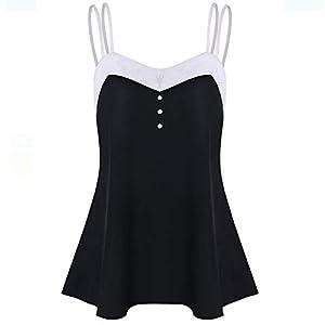 feiXIANG Damen Weste Vest Camis Sleeveless Bluse Shirt Basic Oberteile Backless Mode Strap Tank Tops