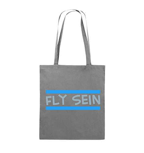 Comedy Bags - Fly sein - Jutebeutel - lange Henkel - 38x42cm - Farbe: Schwarz / Weiss-Neongrün Dunkelgrau / Eisblau-Blau
