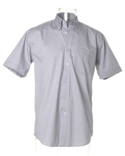 Kustom Kit Corporate Oxford Shirt Short Sleeved Silver Grey