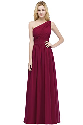 MisShow Damen Lange Abendkleid One Shoulder Chiffon Kleid Lange Ballkleider Brautjungfern Weinrot Gr.42 (Chiffon Lang One-shoulder-kleid)