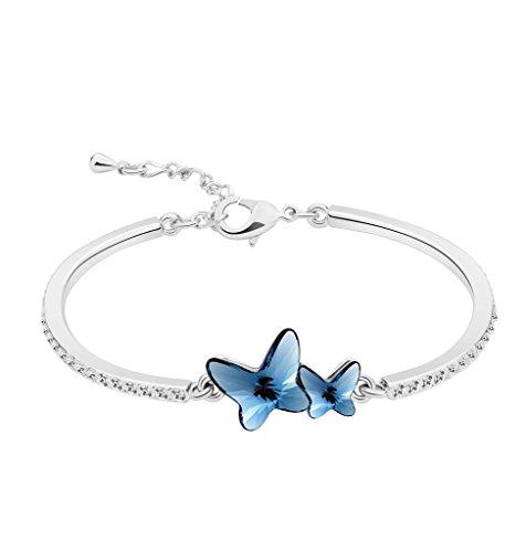 "T400 Jewelers Damen Armband Silber ""Butterfly Lovers"" mit echten SWAROVSKI Kristall Schmetterlingen,Valentinstag Geschenk (Schmetterlings-armband)"