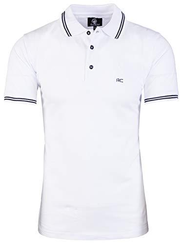 Rock Creek Herren Polo T-Shirts Basic Shirt Kurzarm Poloshirt Polohemd Slim Fit Sommer Shirts Männer T Shirt Top Polokragen H-177 Weiß L (Kragen T-shirts Mit)