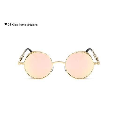 Taiyangcheng Steampunk Sonnenbrillen für Männer Spiegel Objektiv Runde Sonnenbrille Brille Unisex Eyewears,Gold Pink