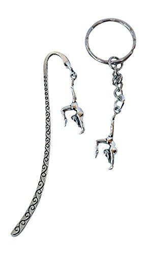 Gymnastik Lesezeichen & Schlüsselanhänger/Tasche Charm Set Tibetisches Silber Gifts AT (Party Gymnastik Supplies)
