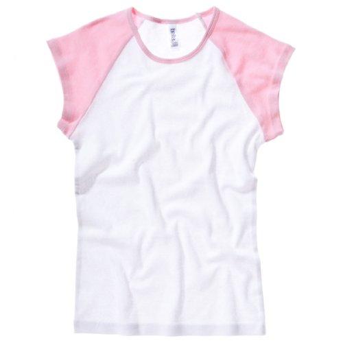 Bella Damen Canvas Rib Baby Baseball Cap Sleeve Raglan-White/Pink, M (Cap Rib Rosa)