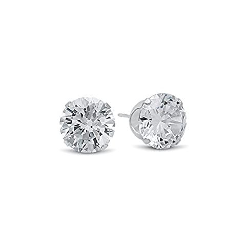 Round Cut Clear Simulated Diamond 10mm CZ Sterling Silver Stud Earrings + Cleaning Cloth