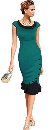 Neue Rockabilly Vintage 50er Jahre Kleid (XL - 40-42, Grün) - Neue Kleider