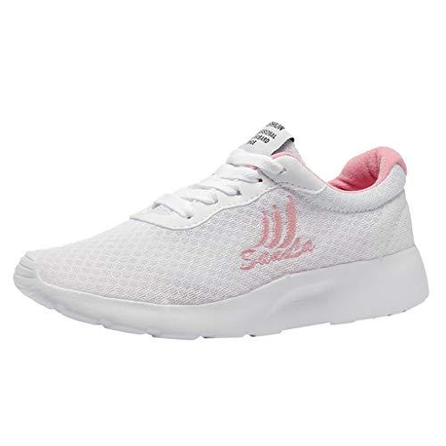 Zapatillas de Deportivos de Running para Mujer Zapatos de Cordones de Estudiante Malla Tejida voladora Gimnasia Ligero Sneakers Deporte Transpirables Casual Cómodo Verano Blanco Zapatos riou