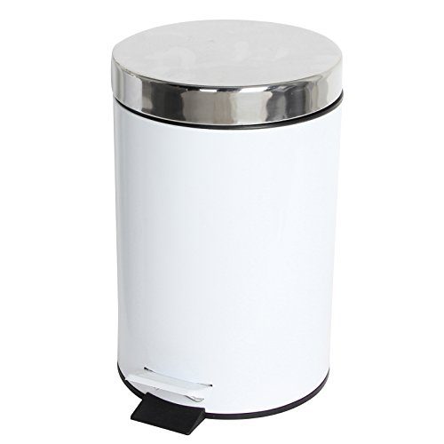 3 Litre Stainless Steel Bathroom Kitchen Pedal Bin (White/Chrome) by My Bathroom World (Steel-pedal-bin White)