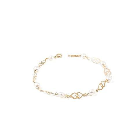 Bracelet Enfant perles et coeur Or Jaune 9 Carats