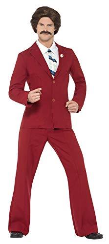 chorman Ron Burgundy Kostüm mit Anzug Schnurrbart Mock Shirt und Tie ()