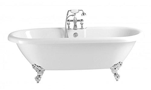Casa Padrino Jugendstil Badewanne freistehend Weiß Modell He-BAB 1495mm - Freistehende Retro Antik...