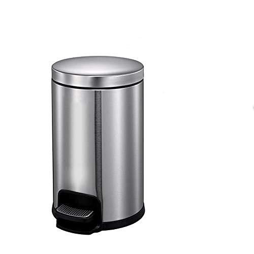 SHUQING Mülleimer Europäische Runde mit Abdeckung Pedal Mülleimer Edelstahl kein Geruch Mülleimer für Wohnzimmer Bad Büro Schlafzimmer Küche Mülleimer 8L