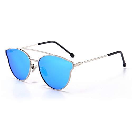 Yiph-Sunglass Sonnenbrillen Mode Süße Katzenaugen Mädchen Polarisierte Sonnenbrille Mit Box Metallrahmen UV-Schutz Kinder Alter 3 bis 12. (Farbe : Blau)