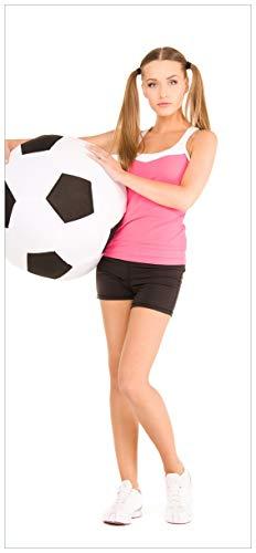 nde Türtapete Schönes Mädchen mit riesigem Fußball und Langen Beinen - 100 x 220 cm in Premium-Qualität: Abwischbar, Brillante Farben, rückstandsfrei zu entfernen ()